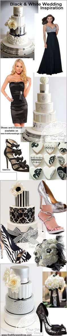 Black and white #weddings are very chic and very popular. All these shoes and dresses can be found on http://www.finditforweddings.com