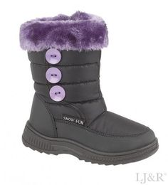 Girls Ice Black/lilac Winter Warm Snow Boots Size Kids 8 (Euro 26)