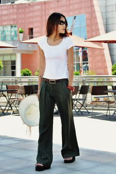 Casual Wide Leg Pants in Armygreen  NC049 by Sophiaclothing, $64.99