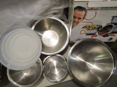 Wolfgang Puck stainless bowls with lids