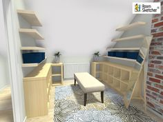 User Question: How can I make the best use of a space under a sloped ceiling? Create an open wardrobe, add open shelves, storage boxes and more! Discover solutions for your tricky spaces RoomSketcher Home Designer - http://www.roomsketcher.com/homedesigner/  #slopedceilings #storage #wardrobe #smallspaces #homedesign