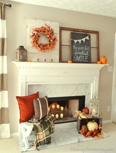 Fall mantel with plaid throw