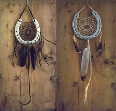 'Day and Night' horseshoe dreamcatchers by erzsebet-beast.deviantart.com on @DeviantArt