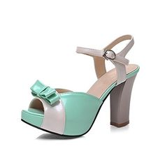 VogueZone009 Womens Assorted Color PU HighHeels Open Toe Buckle HeeledSandals Green 41 ** ** AMAZON BEST BUY ** #KoreanShoes Korean Shoes, Open Toe, High Heels, Heeled Sandals, Green, Image Link, Color, Fashion, Riding Habit