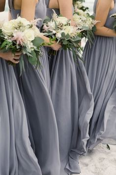 Gray and Blue Bridesmaid Dresses Spring Wedding Pink and White Bouquet Slate Blue Bridesmaid Dress Long Beach Dress Santa Rosa Beach bridesmaids grey Home - Peach & Pearl Events Grey Blue Bridesmaid Dresses, Grey Bridesmaids, Beach Wedding Bridesmaid Dresses, Bridesmaid Bouquet, Bouquet Bleu, Bouquet Rose, Best Wedding Colors, Gray Weddings, Spring Wedding