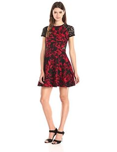Parker Women's Anabella Combo Lace Short Sleeve Fit and Flare Jacquard Dress - http://darrenblogs.com/2015/11/parker-womens-anabella-combo-lace-short-sleeve-fit-and-flare-jacquard-dress/