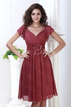 Bridesmaids....Pure Color A-line Empire V-neck Short Sleeves Knee-length Plus Size Bridesmaid Dress 9648167 - Dressbuying.com