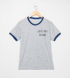 d864fe9d499 Cute But Psycho Shirt Pocket Ringer Tshirt Women T Shirts T-Shirt Tee Funny  Size S M L XL - 3XL Grey Black