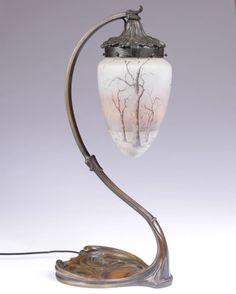 LAMPE ART NOUVEAU BRONZE TULIPE DAUM NANCY 1900