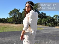 Need a Last Minute Budget Friendly Halloween Costume? Try this DIY Angel Wings tutorial. A total of 30 minutes, toilet paper, glue, ribbon and cardboard.