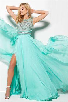 High Slit Open Back Long Mint Green Chiffon Flowing Prom Dress With Belt 1fdee8907fe0