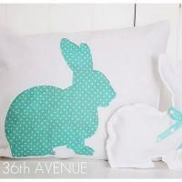 Pattern and tutorial for a bunny silhouette pillow for Easter or a baby shower gift