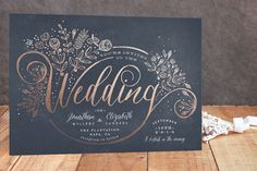 "This wedding stationery is so pretty! I adore the way wedding is like a lovely flourish of flowers. ""The Wedding Bouquet"" - Floral & Botanical Wedding Invitations in Chalkboard by Phrosne Ras. Black And White Wedding Invitations, Botanical Wedding Invitations, Foil Stamped Wedding Invitations, Floral Invitation, Wedding Stationary, Invites, Invitation Ideas, Midnight Wedding, Love And Marriage"