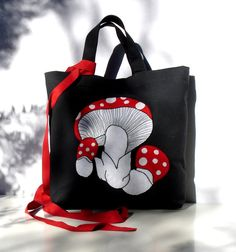 Embroidery applique Carryall shopper tote Off black by Apopsis,