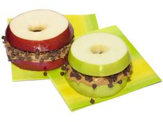Sweet Apple Sammies: Apples, peanut butter, and mini chocolate chips. So yummy!