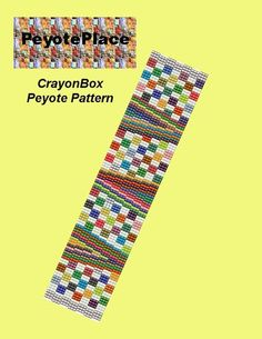 Peyote Cuff Bracelet Pattern - CrayonBox    This is a 3-drop Peyote pattern.  Technique: Even Count Peyote    Miyuki Delica beads size 11 were used