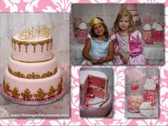Life Songs Of A Busy Mom: Pink Princess Party. Pink and gold cake