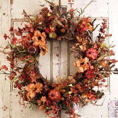 Glenwood Harvest Silk Door Wreath 22 inch