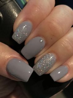 36 Perfect and Outstanding Nail Designs for Winter dark color nails; Gel n… 36 Perfect and Outstanding Nail Designs for Winter dark color nails; nude and sparkle nails; Dark Color Nails, Gray Nails, Different Colour Nails, Dark Gel Nails, Sns Nails Colors, Gel Nail Polish Colors, Pretty Nail Colors, Pretty Nail Art, Fall Nail Art Designs