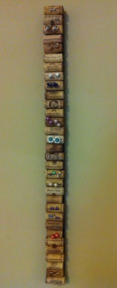 Post earring holder. Scrap wood, corks, hot glue - unique jewelry, fashion costume jewelry, accessorize jewellery *sponsored https://www.pinterest.com/jewelry_yes/ https://www.pinterest.com/explore/jewelry/ https://www.pinterest.com/jewelry_yes/jewelry-designers/ https://www.therealreal.com/fine-jewelry-and-watches