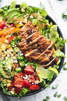 Arugula Salad Recipes, Slaw Recipes, Easy Salad Recipes, Healthy Recipes, Kid Recipes, Healthy Meals, Dinner Recipes, Chipotle Chicken Salad Recipe, Grilled Chicken Salad