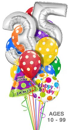 Custom Name & Age Megaloon Polka Dots Balloon Bouquet (16 Balloons)