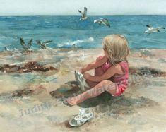 Beach Boy viendo grandes hermanos y hermanas nadan en lago