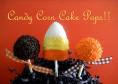 12 Sparkling Candy Corn Thanksgiving Candy Buffet Cake Pops. $22.00, via Etsy.