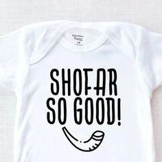 Shofar So Good Baby Onesie® Hebrew Baby Onesie® Jewish   Etsy Baby Onesie, Baby Bodysuit, Onesies, Yom Teruah, Beautiful Babies, Baby Shower Gifts, Etsy, Baby Overalls, Shower Gifts