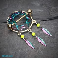 Golden Dreamcatcher Feather Nipple Shield Ring