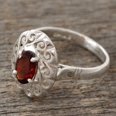 NOVICA Artisan Crafted Garnet Ring in Sterling Silver ($38) ❤ liked on Polyvore featuring jewelry, rings, red, single stone, garnet jewelry, red garnet jewelry, red jewellery, sterling silver garnet jewelry and red cocktail ring