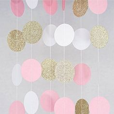 Paper Garland – 3 Pack Total Pink – White – Gold Glitter Paper Garland Circle Dots for Wedding – Bridal Showers – Birthday Party – Baby Shower – and Party Decorations (Pink&White&Gold) – - Birthday Party 2