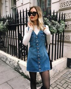 """1,539 Likes, 125 Comments - Em • The Lipstick Fever  (@thelipstickfever) on Instagram: """"Weather proofing this here denim dress bc it is CHILLAY over here  http://liketk.it/2t89U…"""""""