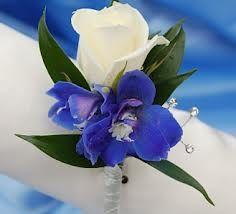 blue delphinium and white roses