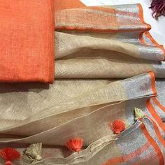 ******Shipping with in India is free****** pure linen silk sarees. - Linen saree - Linen sarees Please check availability before you place an order. Silk Sarees Online Shopping, Plain Saree, Saree Border, Elegant Saree, Rust Color, Colour, Handloom Saree, Professional Women, Beautiful Saree