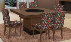 Conjunto para Sala de Jantar com Mesa com tampo giratório Verona e 6 Cadeiras Ibiza Castanho/Preto/Floral Vermelho - ModoCasa