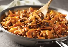 Campbell's Beef Taco Skillet Recipe. I use fritos instead of the shredded soft tortillas.