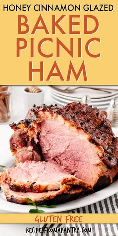 Get ready to enjoy this tasty Cinnamon Honey Glaze Picnic Ham. This Baked Ham recipe is the perfect oven-baked ham full of smoky and sweet flavors thanks to a fragrant cinnamon, nutmeg, and brown sugar glaze. Learn how to cook a smoked shoulder picnic ham with ease. And learn everything else you need to know to bake a ham. Click through to get the best Picnic Ham Recipe!! #picnicham #bakedham #glazedham #honeyham #smokedham #shoulderham #howtobakeaham #howtocookaham