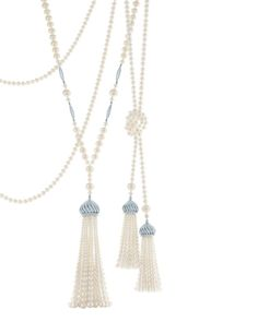 Tiffany and Co Pearl Tassel necklace from The Great Gatsby collection. Made with freshwater cultured pearls and diamonds, set in platinum.