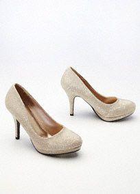 """Sparkling, fun and oh so fabulous! These glitter mesh high heels will surelybecome a favorite in your wardrobe!  Glitter mesh high heels with platform.  Available in Nude and Silver.  Heel measures 3 1/2"""" in height. Platform measures 1/4"""" in height.  Fully lined. Imported."""