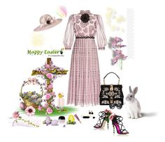 """""""Happy Easter"""" by deborah-518 ❤ liked on Polyvore featuring Giamba, Dolce&Gabbana, BaubleBar, Helene Zubeldia, Marc Jacobs, Too Faced Cosmetics, Gucci and Prada"""