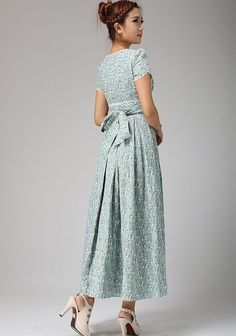 Robe longue robe à fleurs bleu oeuf de canard mariage par xiaolizi