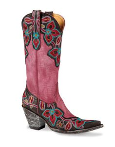 Purple Marrione Boots...$520...Purple goatskin with an ornate overlay embroidered in confetti colors.