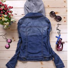 New Women Ladies Denim Cropped Casual Coat Hoodie Jacket Hooded Jeans Outerwear