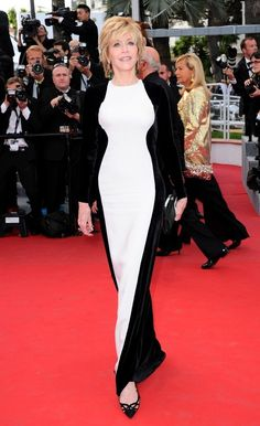 Jane Fonda Evening Dress - Jane Fonda accentuated her curves in this paneled velvet column dress at Cannes.