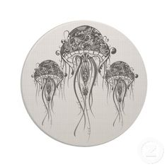 white jellyfish art | Black & White Jellyfish-Tattoo Art Drink Coasters from Zazzle.com
