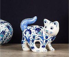 El Yapımı Çini Büyük Kedi