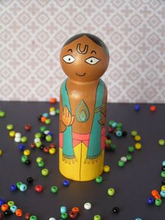 Krishna  Handpainted Wooden Indian Golu by StudioBommai on Etsy