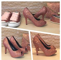 Women's SPARKLY metallic rose gold glitter peep toe pumps high or low heels stiletto shoes matching converse toms clutch purse bride wedding by CrystalCleatss on Etsy https://www.etsy.com/listing/231126728/womens-sparkly-metallic-rose-gold