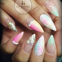 On the of February I will do my nails again, . Winter Nail Art, Winter Nails, Spring Nails, Nail Manicure, Nail Polish, The Art Of Nails, Valentine Nail Art, Pointy Nails, Gorgeous Nails